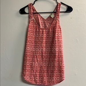LUCKY brand tank top boho red and cream size XS